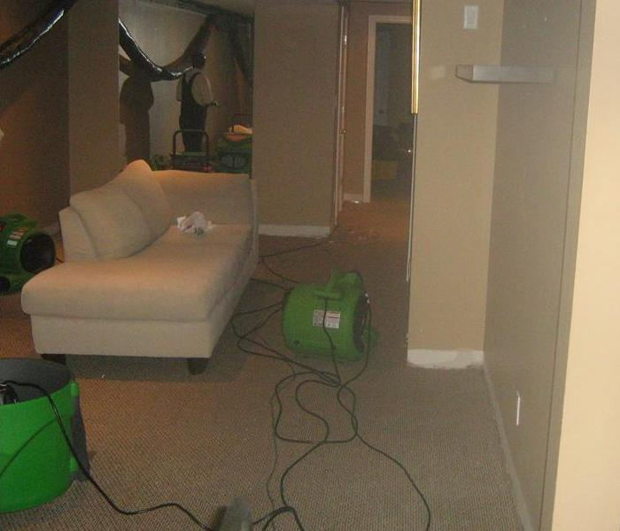 water damage basement drying process and restoration